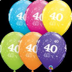 Lateks baloni 28cm 40 A Round Tropical Ast