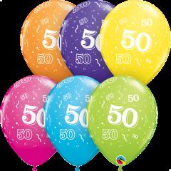 Lateks baloni 28cm 50 A Round Tropical Ast