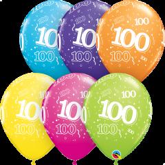 Lateks baloni 28cm 100 A Round Tropical Ast