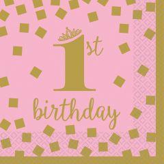 1st Birthday Pink & Gold salvete 25x25 cm