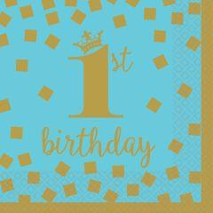 1st Birthday Blue & Gold salvete 25x25 cm