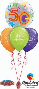Helijski buket Bubble baloni 50th Birthday Stars