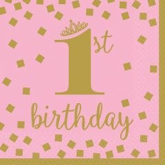 1st Birthday Pink & Gold salvete 33x33 cm
