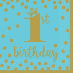 1st Birthday Blue & Gold salvete 33x33 cm