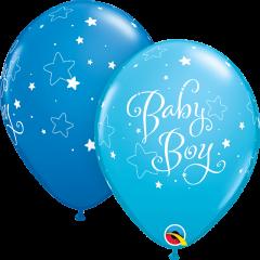Lateks baloni 28cm Baby Boy Stars Dark Blue&Robins Egg