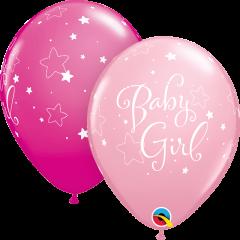 Lateks baloni 28cm Baby Girl Stars Pink&Wild Berry