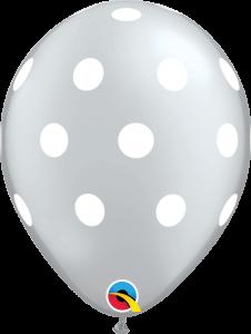 Lateks baloni 28cm Big Polka Dots Silver