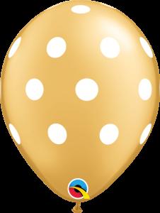 Lateks baloni 28cm Big Polka Dots Gold