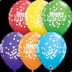 Lateks baloni 28cm Bday Confetti Dots Bright Rainbow Ast