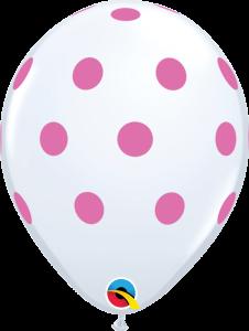 Lateks baloni 28cm Big Polka Dots White
