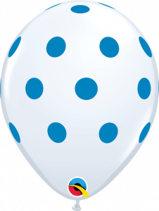Lateks baloni 28cm Big Polka Dots Whit