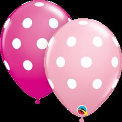 Lateks baloni 28cm Big Polka Dots Pink&Wild Berry