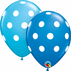 Lateks baloni 28cm Big Polka Dots Dark Blue&Robins Egg