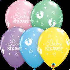 Lateks baloni 28cm Baby Shower Footprints&Hearts Pastel Ast
