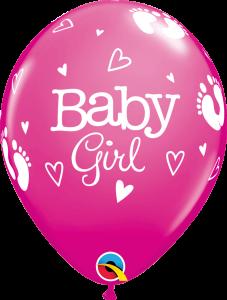 Lateks baloni 28cm Baby Girl Footprints&Hearts Wild Berry