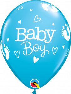 Lateks baloni 28cm Baby Boy Footprints&Hearts Robins Egg