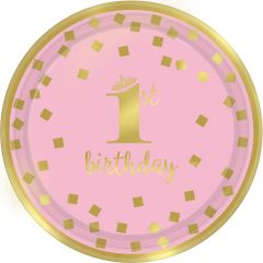 1st Birthday Pink & Gold tanjuri 18 cm