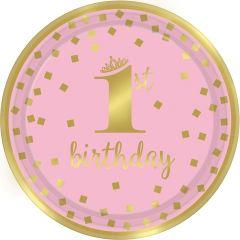 1st Birthday Pink & Gold tanjuri 23 cm