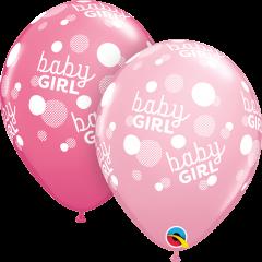 Lateks baloni 28cm Baby Girl Pink Dots