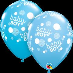 Lateks baloni 28cm Baby Boy Blue Dots