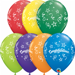 Lateks baloni 28cm Congratulations Streamers Carnival Ast