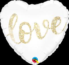 Standard Love Glitter Gold folijski balon