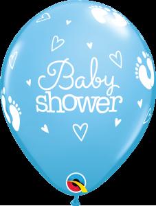 Lateks baloni 28cm Baby Shower Footprints&Hearts Pale Blue