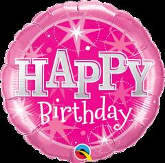 Mini Bday Pink Sparkle folijski balon na štapiću