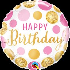 Mini Bday Pink & Gold Dots folijski balon na štapiću