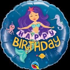 Mini Happy Bday Mermaid folijski balon na štapiću
