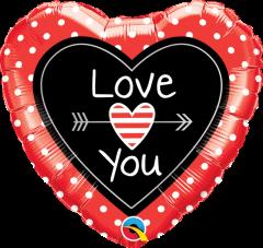 Mini Love You Dots & Arrows folijski balon na štapiću