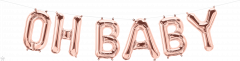 Mini folijski balon natpis Oh Baby Rosegold