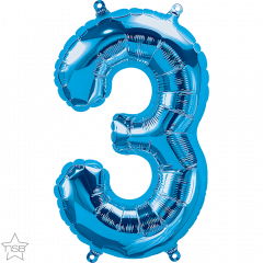 Mini folijski balon broj 3 Blue
