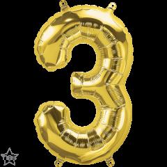 Mini folijski balon broj 3 Gold