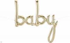 Natpis Baby White Gold folijski balon