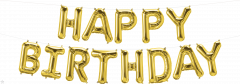Mini folijski balon natpis Happy Birthday Gold