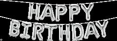 Mini folijski balon natpis Happy Birthday Silver