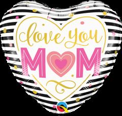 Mini Love You Mum Stripes folijski balon na štapiću