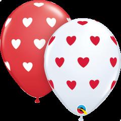 Lateks baloni 28cm Big Hearts White&Red