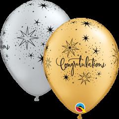 Lateks baloni 28cm Congratulations Elegant Silver&Gold
