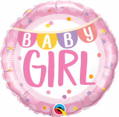 Standard Baby Girl Banner & Dots folijski balon