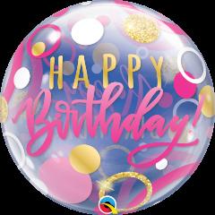 Bubble Bday Pink & Gold Dots pvc balon