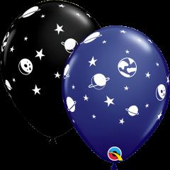 Lateks baloni 28cm Celestial Fun Navy&Onyx Black