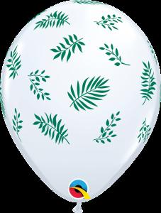 Lateks baloni 28cm Tropical Greenery White