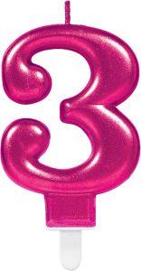 Rođendanska svjećica broj 3 Ciklama