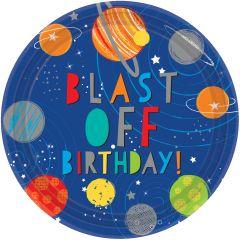 Blast off Birthday tanjuri 23 cm