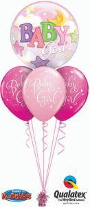 Helijski buket Bubble baloni Baby Girl