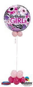 Helijska balonska skulptura Bubble Bday Pink Zebra