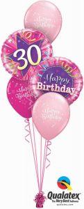 Buket balona 30th Birthday Shining Star Pink