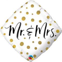 Standard Mr. & Mrs. Gold Dots folijski balona